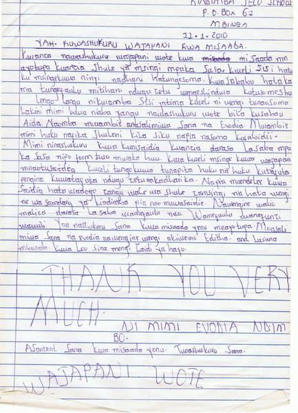 Evodiaからの手紙